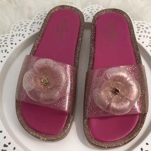 NEW Kate Spade glitter jelly slides 8